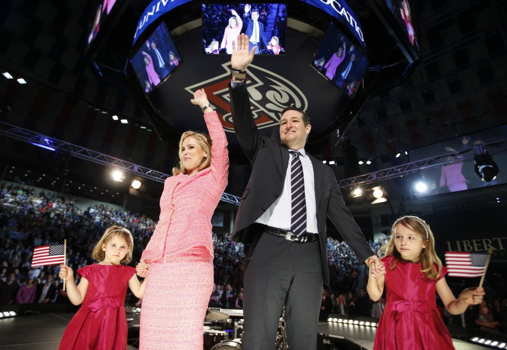 U.S. Senator Ted Cruz (R-TX) stands on stage with his wife Heidi and their daughters Catherine and Caroline, as he announces his candidacy for president during an event at Liberty College in Lynchburg, Virginia, Monday. Photo by Chris Keane/Reuters