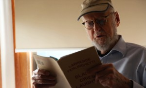 Beat poet and painter Lawrence Ferlinghetti will turn 96 in March. Photo by Adam Grossberg/KQED