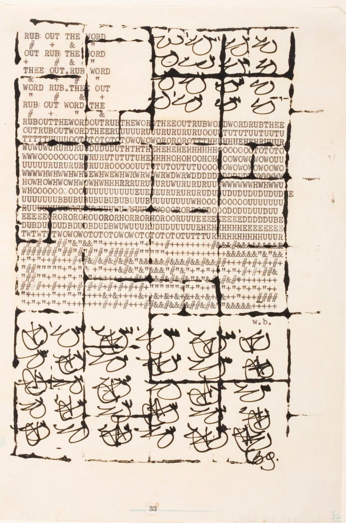William S. Burroughs and Brion Gysin, The Third Mind, 1965. Ink and typescript on paper, 10 1/8 x 6 7/8 in (25.6 x 17.3 cm). Los Angeles County Museum of Art, purchased with funds provided by the Hiro Yamagata Foundation