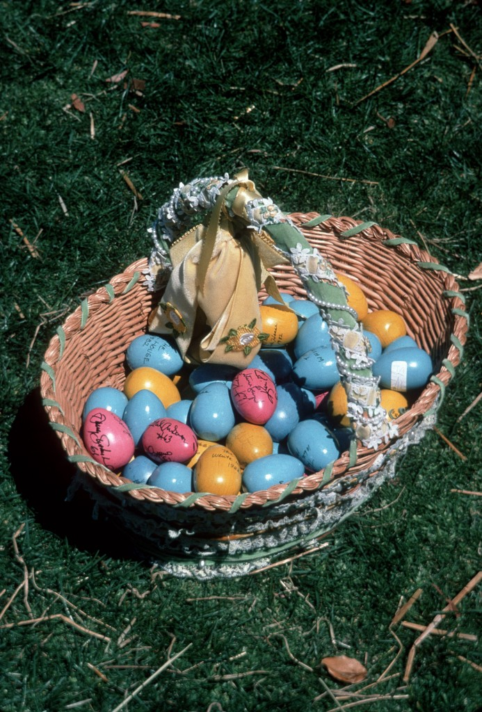 Basket of wooden eggs for the Easter Egg Roll in 1982 (Photo credit: White House Historical Association)