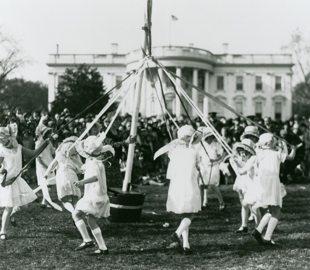 Children dance around a maypole at the White House Easter Egg Roll, ca. 1930 (Photo credit: White House Historical Association)