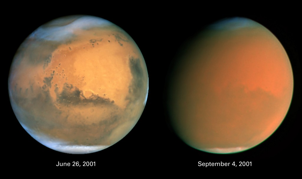 Two dramatically different faces of our Red Planet neighbor appear in these comparison images showing how a global dust storm engulfed Mars with the onset of Martian spring in the Southern Hemisphere. When NASA's Hubble Space Telescope imaged Mars in June, the seeds of the storm were caught brewing in the giant Hellas Basin (oval at 4 o'clock position on disk) and in another storm at the northern polar cap. Both images are in natural color, taken with Hubble's Wide Field Planetary Camera 2. Photo by NASA, James Bell of Cornell University, Michael Wolff of Space Science Institute and The Hubble Heritage Team