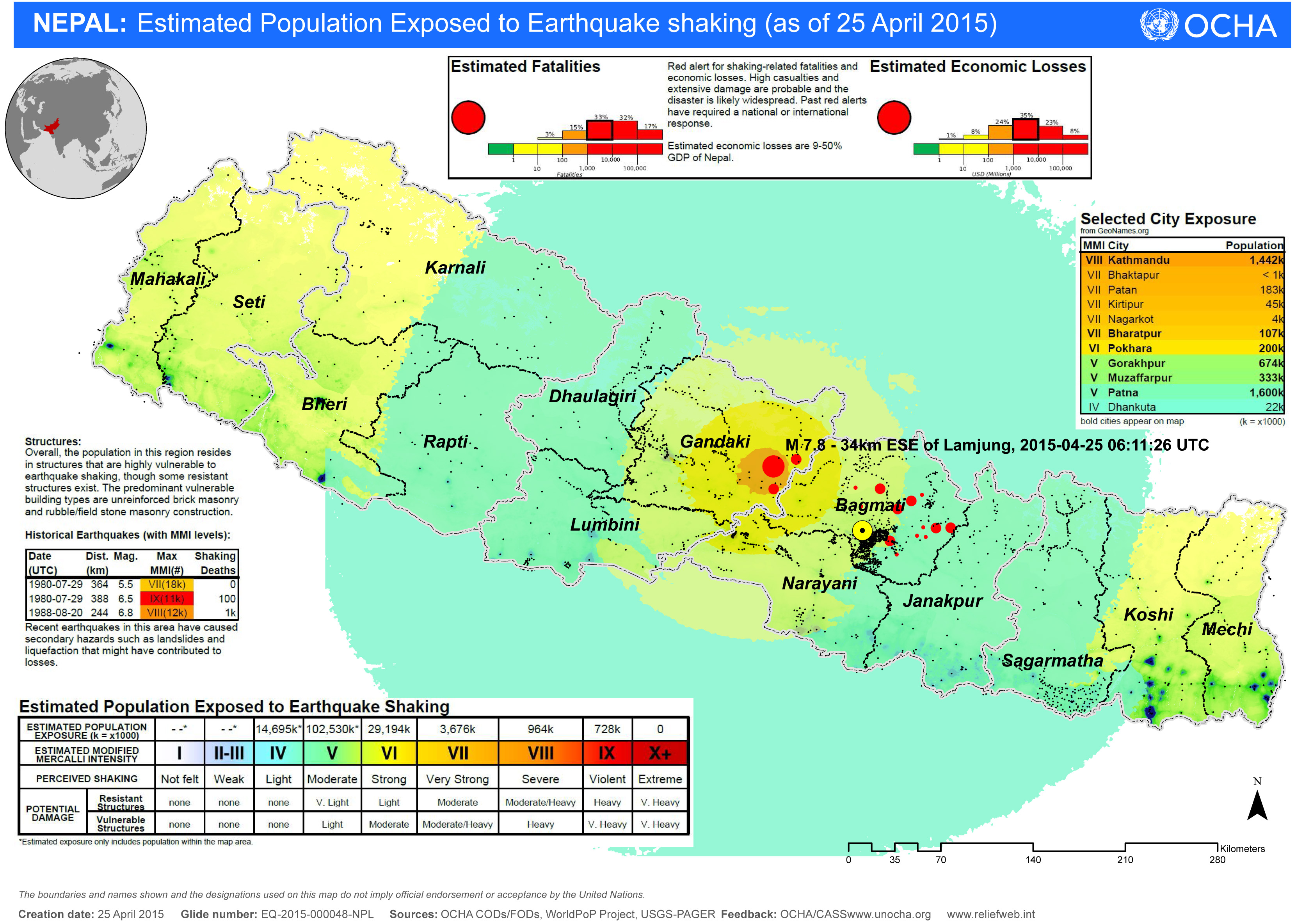 A map shows the estimated population of Nepal still exposed to aftershocks following the April 25, 2015, earthquake. Map by the U.N. Office for the Coordination of Humanitarian Affairs