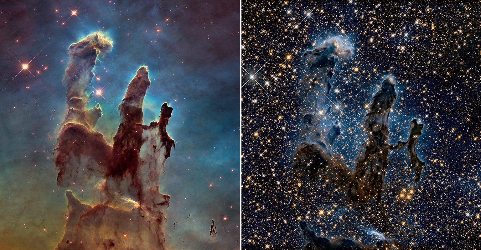 "At left, Hubble revisited its iconic ""Pillars of Creation"" image with this sharper and wider view of pillars in the Eagle Nebula. The towering pillars are about 5 light-years tall, bathed in the blistering ultraviolet light from a group of young, massive stars located off the top of the image. Stars are being born deep inside the pillars, which are made of cold hydrogen gas laced with dust. At right, a near-infrared view of the pillars. Photo by NASA, ESA and the Hubble Heritage Team"