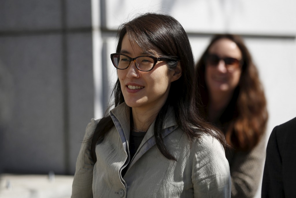Ellen Pao leaves San Francisco Superior Court Civic Center Courthouse during a lunch break in San Francisco, California March 25, 2015. Pao, the interim CEO of Reddit, is suing her former employer Kleiner Perkins Caufield & Byerr, a venture capital firm, for $16 million in a landmark case detailing the alleged sexual bias against women in Silicon Valley. REUTERS/Stephen Lam - RTR4UVEY