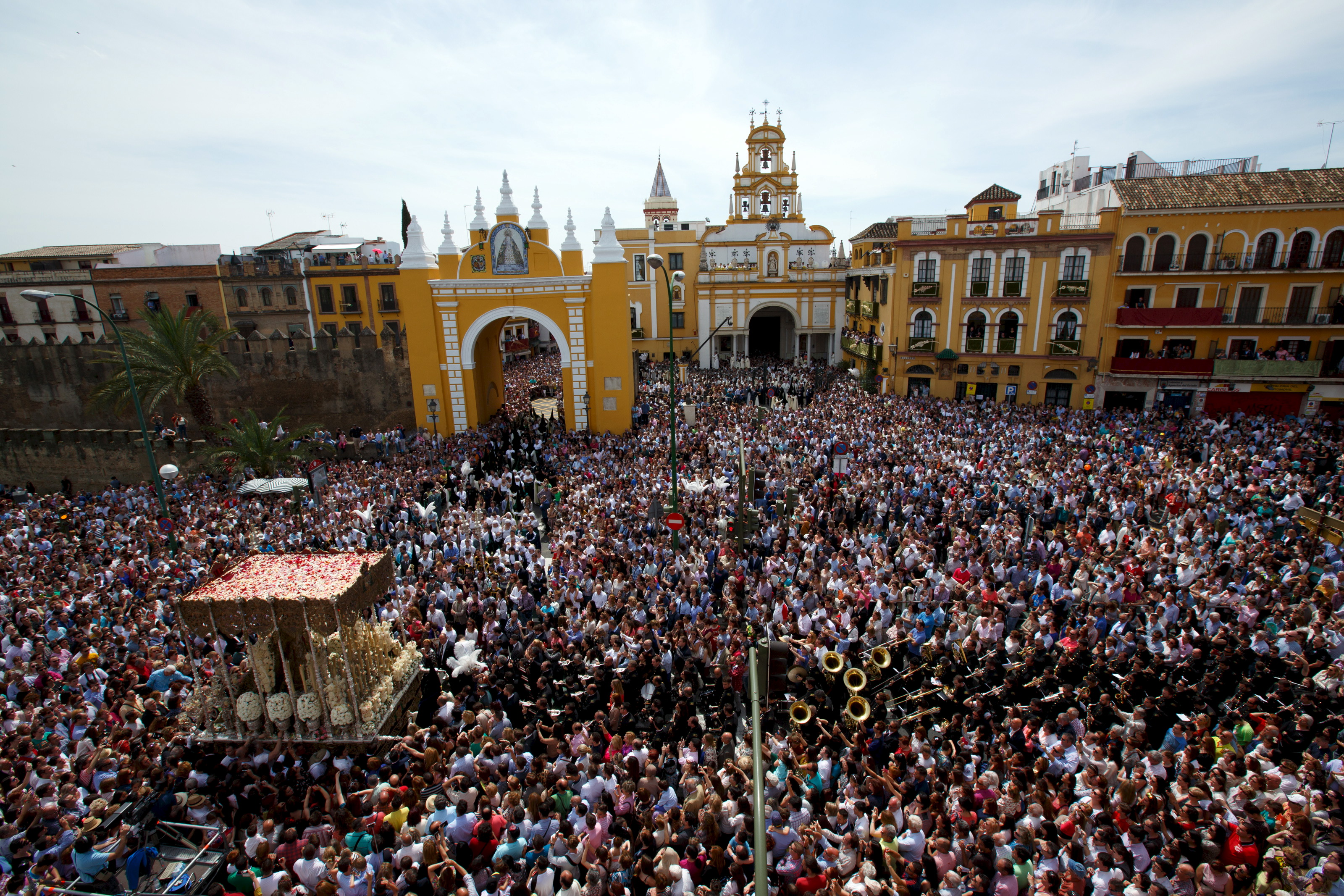 "People gather to watch the procession of ""La Macarena"" brotherhood during  Seville, Spain on Apr. 3, 2015. Credit: Marcelo del Pozo/REUTERS."