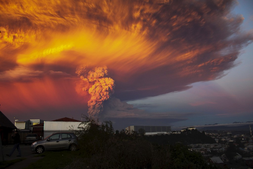 People were evacuated from a 12-mile radius around the erupting Calbuco volcano in Chile. Photo by Sergio Candia/Reuters