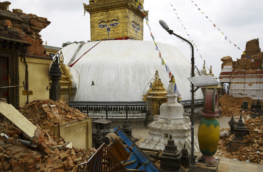 A monastery and shrines at the Swayambhunath Stupa, a UNESCO world heritage site, collapsed after Saturday's earthquake in Nepal. Photo by Navesh Chitrakar/Reuters