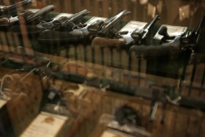 Guns on sale in a case at a gun store in Fort Worth, Texas. Photo by Jessica Rinaldi/Reuters