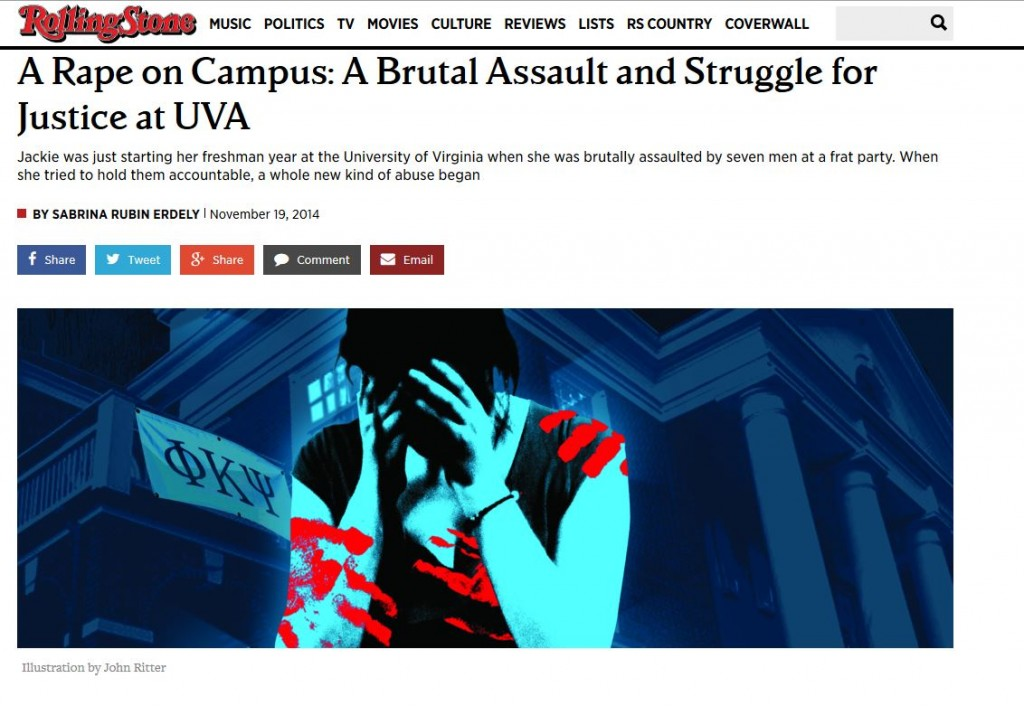 The Rolling Stone article about campus rape that ignited a controversy over the magazine's editorial choices and credibility. The Columbia Journalism Review released the university's report on the Rolling Stone article Sunday evening.