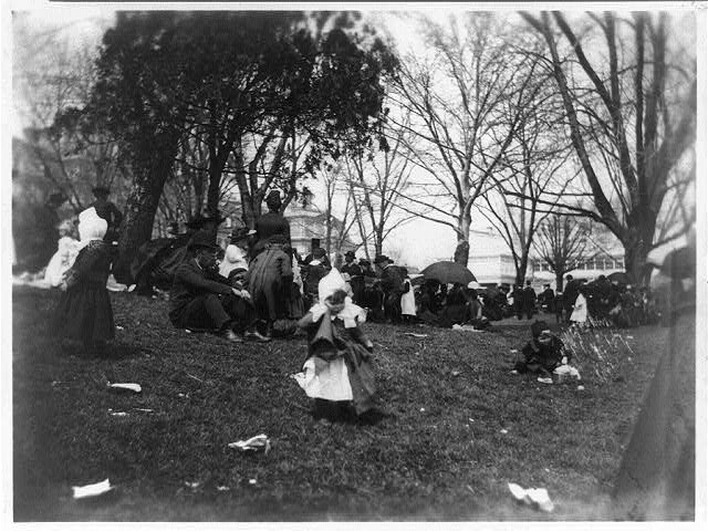 Children and adults on grounds of the White House for the annual Easter Egg Roll, 1889 (Photo credit: Library of Congress)
