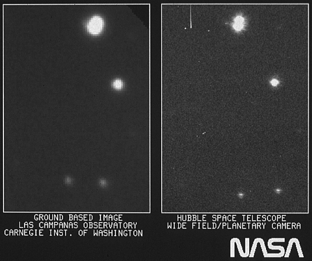 On the right is part of the first image taken with NASA's Hubble Space Telescope's (HST) Wide Field/Planetary Camera. It is shown with a ground-based picture from Las Campanas, Chile, Observatory of the same region of the sky. The Las Campanas picture was taken with a 100-inch telescope and its typical of high quality pictures obtained from the ground. All objects seen are stars within the Milky Way galaxy. The first image taken with the HST is intended to assist in focusing the telescope. It's a 30-second exposure. Photo by  NASA, ESA, and STScI