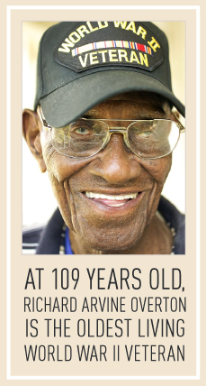 at 109 years old,  Richard arvine Overton is the oldest living World war II veteran
