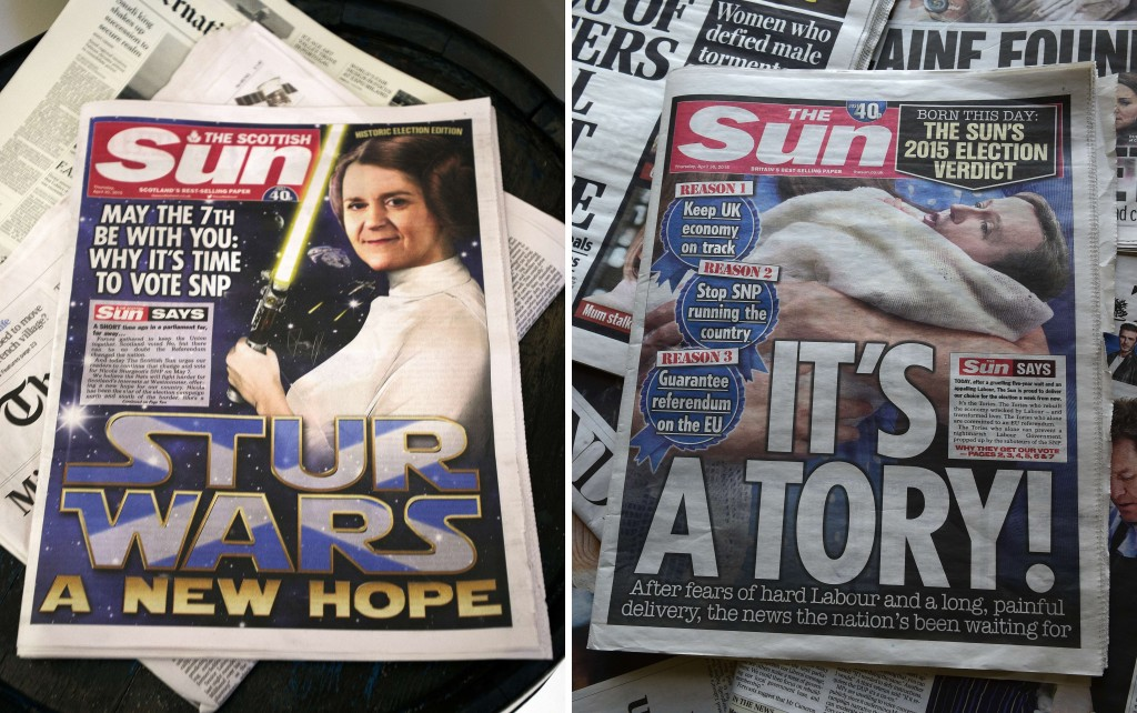 The Scottish edition of Britain's Sun newspaper endorsed Scottish National Party leader Nicola Sturgeon (left), while the London edition backed British Prime Minister and leader of the Conservative Party David Cameron (right). Photos by Andy Buchanan and Daniel Sorabji/AFP/Getty Images