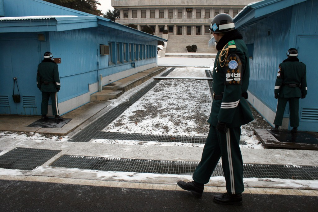South Koreans on guard duty at the Demilitarized Zone on the border with North Korea. Photo by Larisa Epatko