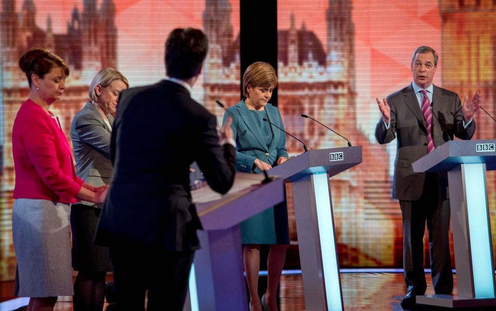 Britain's opposition Labor Party leader Ed Miliband (back to camera), (left-right)  Plaid Cymru leader Leanne Wood, Green Party leader Natalie Bennett, SNP leader Nicola Sturgeon and Nigel Farage the leader of UKIP participate in a televised debate in London on April 16. Photo by Stefan Rousseau/pool via Reuters