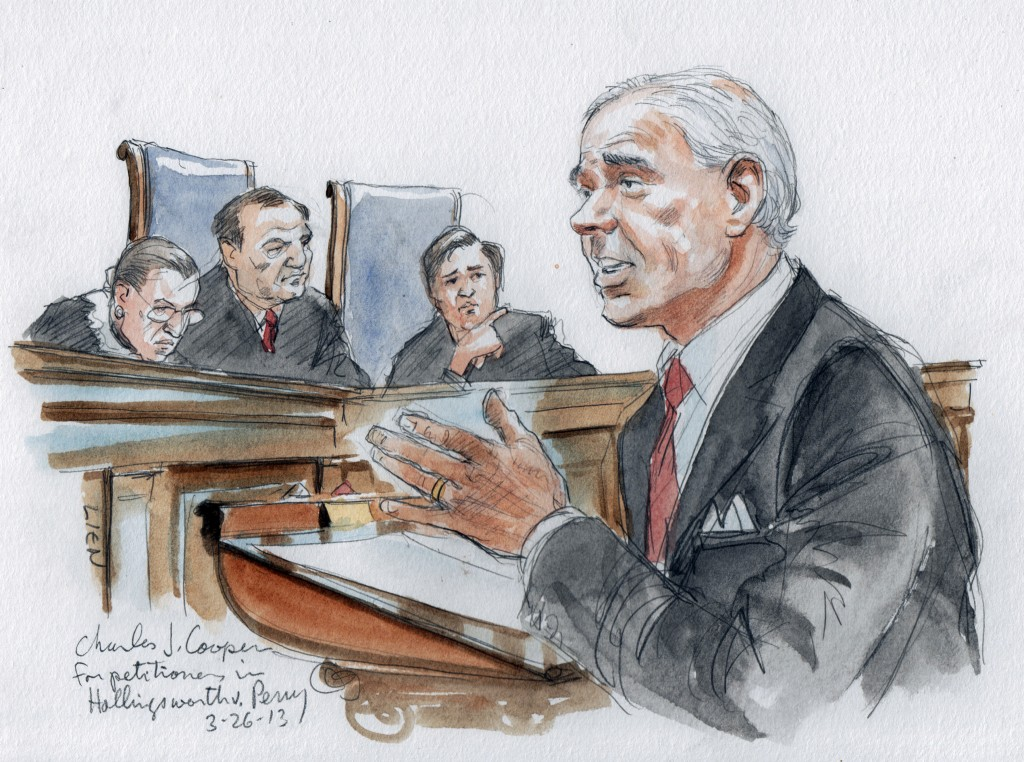 Attorney Charles Cooper argues for supporting California's Proposition 8 in the U.S. Supreme Court in Washington, March 26, 2013.  Two members of the U.S. Supreme Court, both viewed as potential swing votes on the right of gay couples to marry, raised doubts about California's gay marriage ban on Tuesday as they questioned the lawyer defending the ban. Photo by Art Lien/Reuters