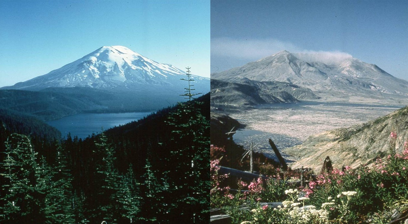 Mount St. Helens is pictured here before (l) and after (r) the devastating 1980 eruption. Images courtesy of USGS.