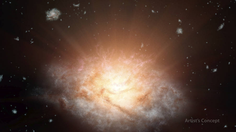 What's making this galaxy shine with the light of 300 trillion suns?