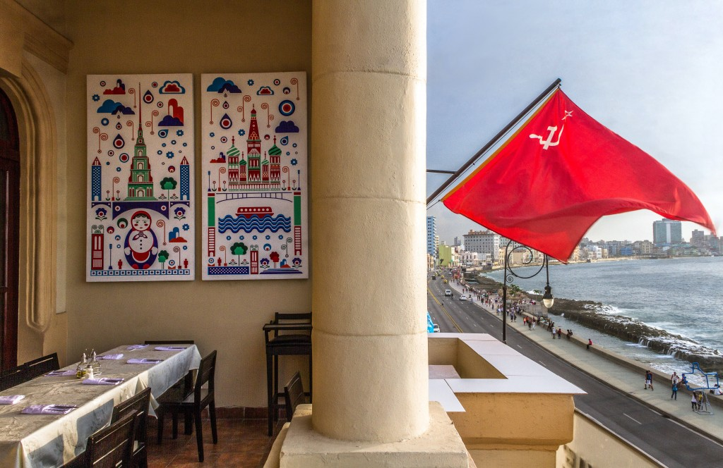 A few floors up, Nazdarovie is a Soviet-themed restaurant near the eastern end of the Malecon, with a great balcony and stunning views of the water, the Morro Fortress and the colorful colonial buildings to the west. Its interior houses some interesting Soviet-era propaganda, including one of American icon Marilyn Monroe sporting a hammer and sickle on her sweater. Photo by Frank Carlson