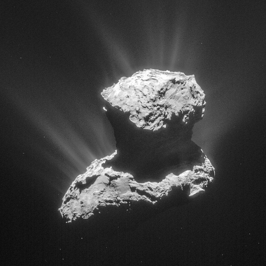 Photo of Comet 67P/Churyumov-Gerasimenko taken on 25 March 2015 from a distance of 53 miles from the comet center. Photo by European Space Agency/Max Planck Institute for Solar System Research.