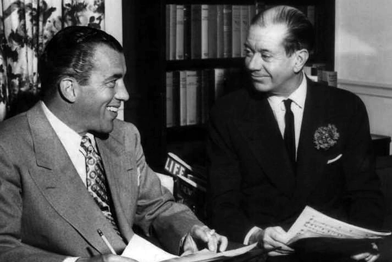 "Ed Sullivan, left, and Cole Porter from Sullivan's first television program ""Toast of the Town"" in 1952. Photo by CBS Television via Wikimedia"