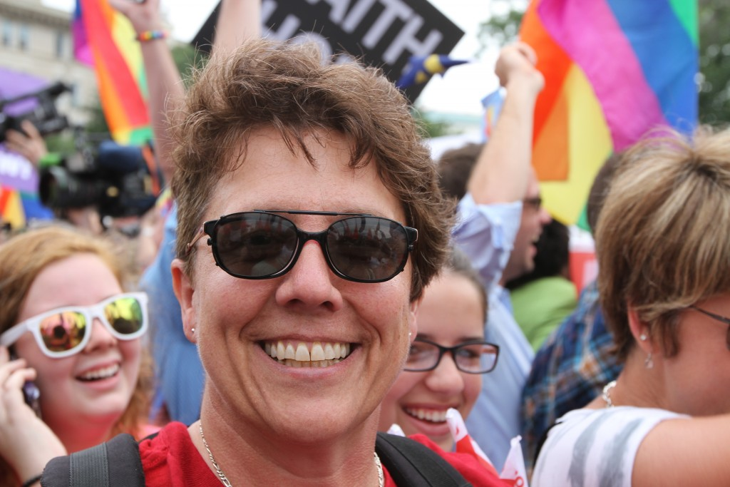Judy Walton, a supporter of marriage equality, celebrates the decision outside the Supreme Court on June 26, 2015. (Photo by Corinne Segal)