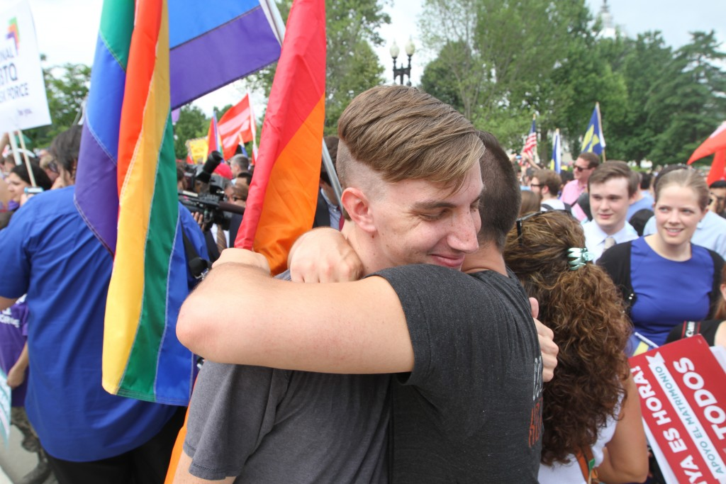 Joshua Dowling (left) and Sam Knode celebrate the Supreme Court decision on marriage equality on June 26, 2015. (Photo by Corinne Segal)
