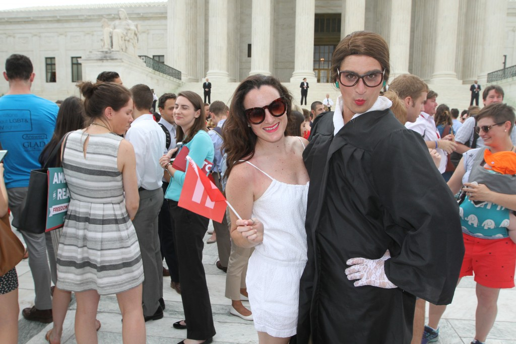 Sophia Romeu (left) and Joe Goldman (right) celebrate the Supreme Court decision on marriage equality on June 26, 2015. (Photo by Corinne Segal)