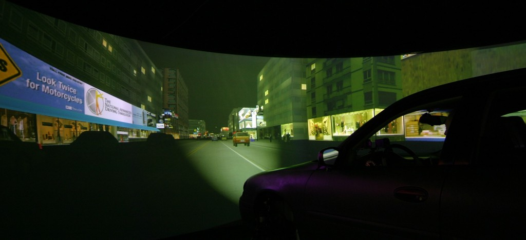 A view from inside the dome of the National Advanced Driving Simulator - 1.  Photo by University of Iowa National Advanced Driving Simulator Source: Drug and Alcohol Dependence doi: http://dx.doi.org/10.1016/j.drugalcdep.2015.06.015