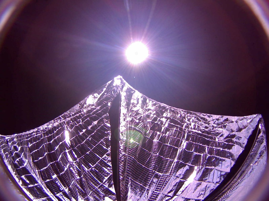 A camera aboard LightSail, captures a shot of the sun and its own solar wings on June 8, 2015. Photo by The Planetary Society