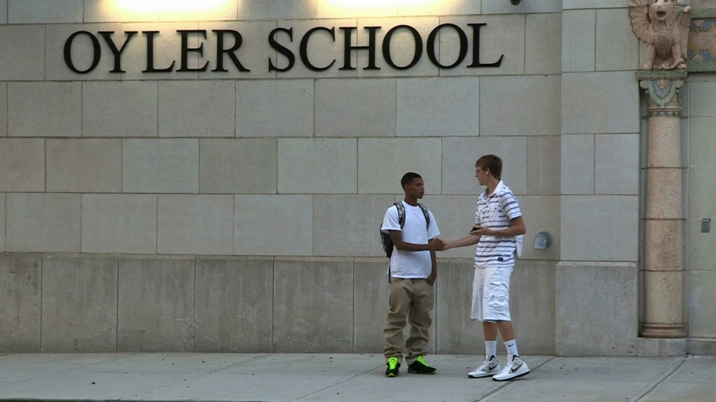 Students in front of Oyler School in Cincinnati, Ohio. Photo by Glenn Hartong
