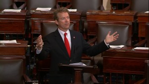 U.S. Senator Rand Paul delivers a speech on the floor of the U.S. Senate, in this still image taken from video, on Capitol Hill in Washington May 31, 2015. The legal authority for U.S. spy agencies' collection of Americans' phone records and other data expired at midnight on Sunday after the U.S. Senate failed to pass legislation extending the powers. Picture taken May 31, 2015. REUTERS/Senate TV/Handout via Reuters ATTENTION EDITORS - THIS IMAGE HAS BEEN SUPPLIED BY A THIRD PARTY. FOR EDITORIAL USE ONLY. NOT FOR SALE FOR MARKETING OR ADVERTISING CAMPAIGNS. THIS PICTURE IS DISTRIBUTED EXACTLY AS RECEIVED BY REUTERS, AS A SERVICE TO CLIENTS - RTR4YC42
