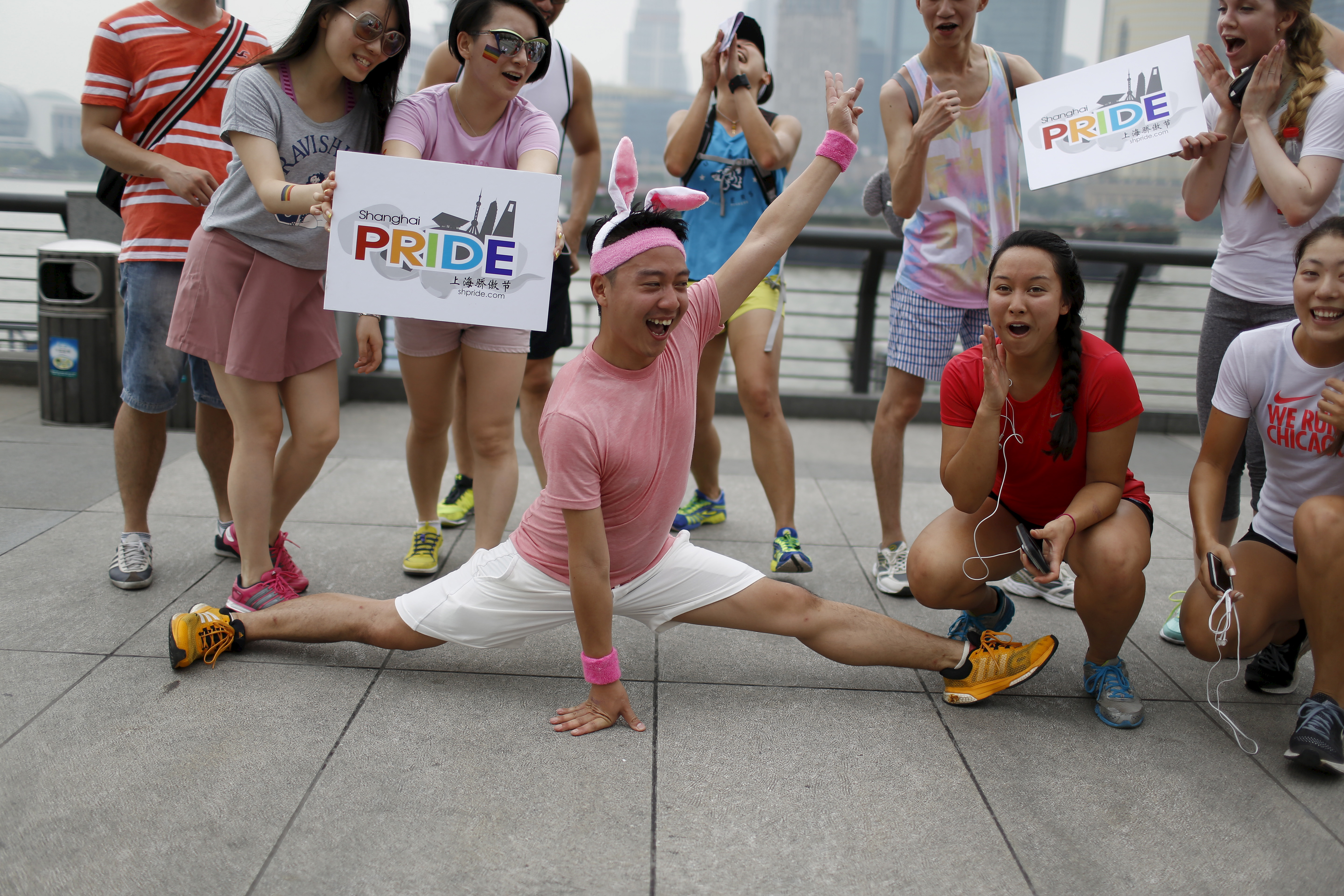 Participants take part in Pride Run, an event at the ShanghaiPRIDE LGBTQ celebration in Shanghai, China on June 13, 2015. Photo by Aly Song/Reuters
