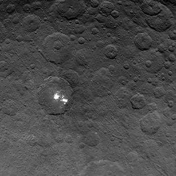 The brightest spots on dwarf planet Ceres are seen in this image taken by NASA's Dawn spacecraft on June 6, 2015.