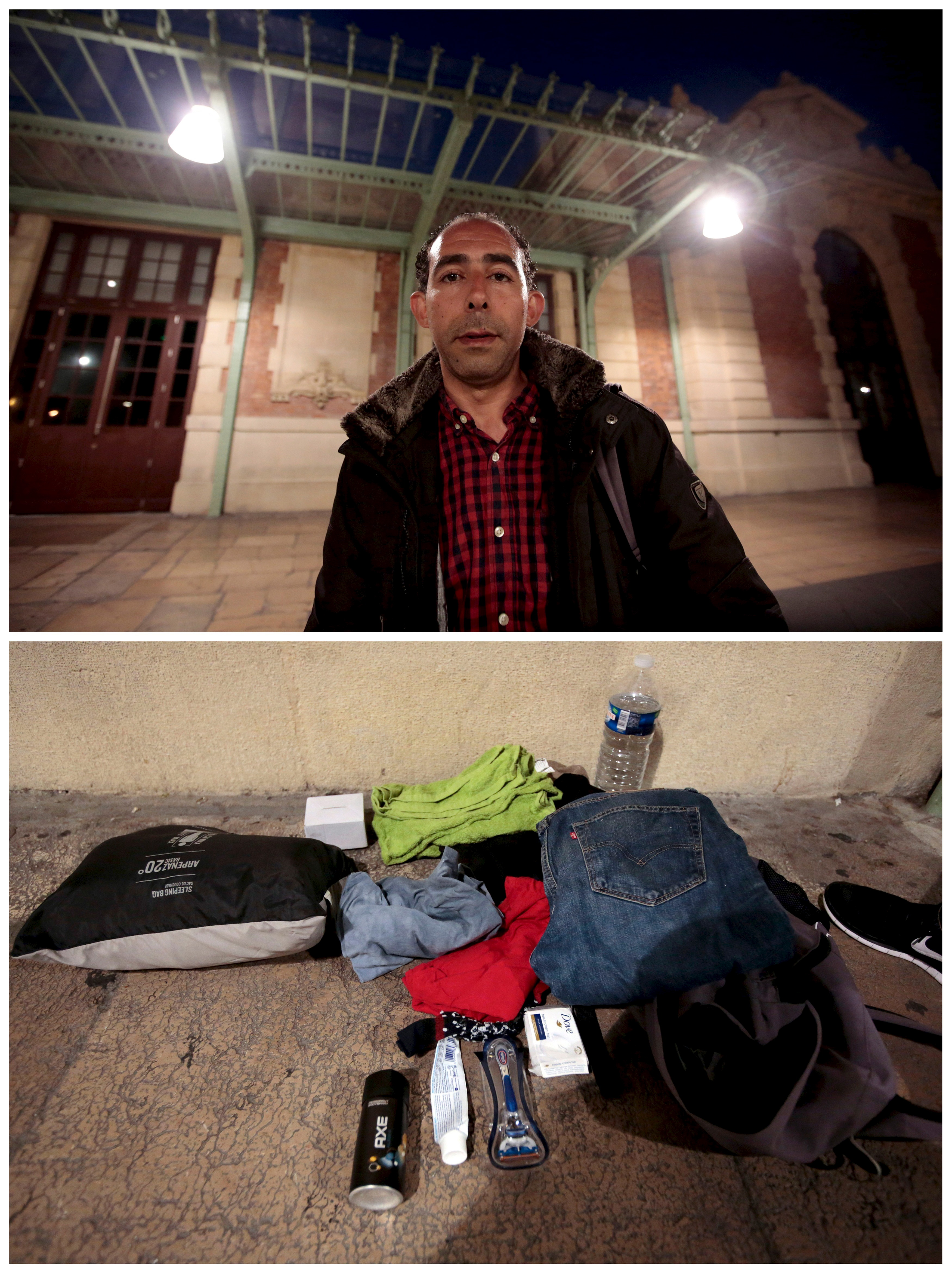 Libyan migrant Icham El Korati, 38, and his belongings at the railway station in Nice, France, on June 3, 2015. El Korati was a taxi driver and owner of a coffee bar in Misrata, but he left his country in March 2011 because of war. Photo by Eric Gaillard/Reuters