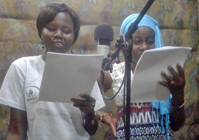 Some of the actors record their part of the South Sudan radio drama. Photo courtesy of Sawa Shabab