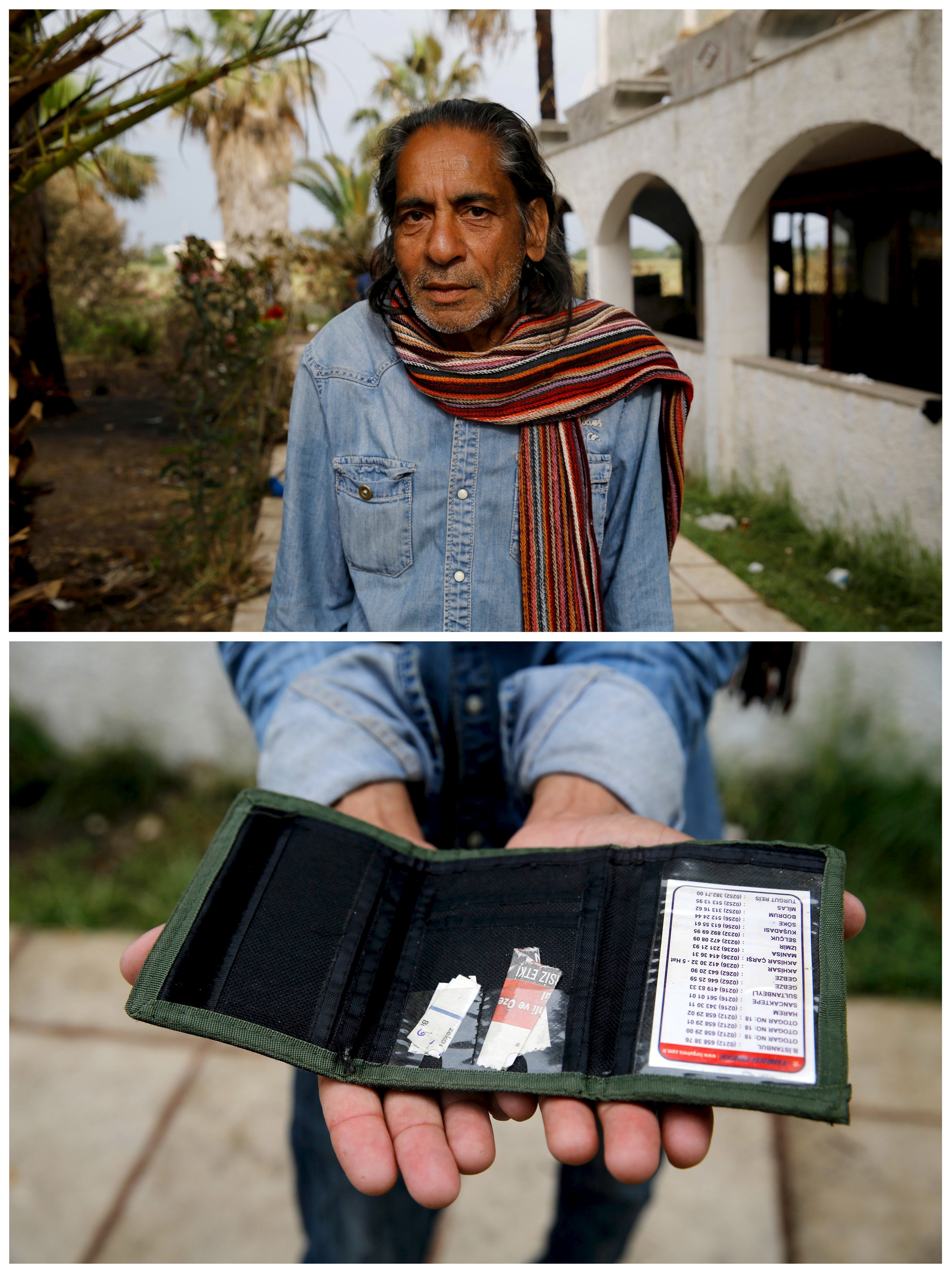 Pakistani migrant Mohamed Ayub, 51, holding the most valuable item he currently owns, his empty wallet, at a deserted hotel used by immigrants for temporary shelter on the Greek island of Kos, May 27, 2015. Photo by Yannis Behrakis/Reuters