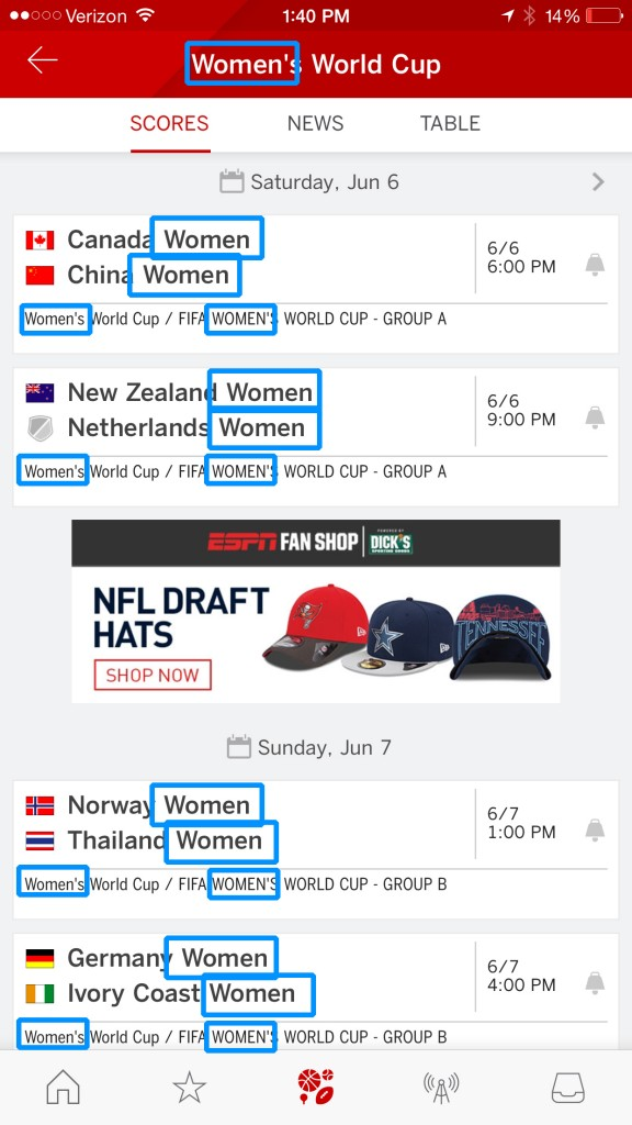 "I'm pretty sure I found the Women's World Cup section since it says the word ""Women"" 18 times."