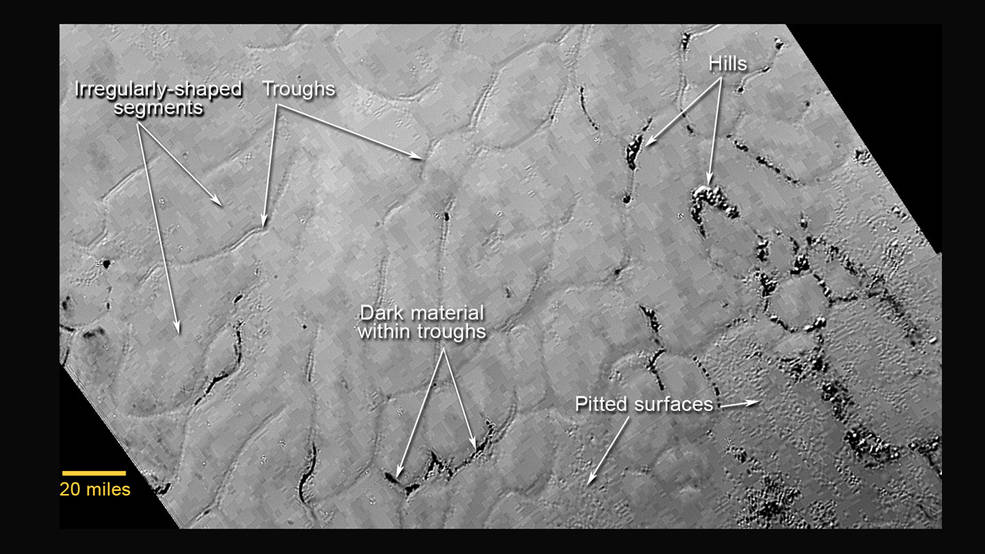 Landmarks of Sputnik Planum, a set of icy plains on Pluto. Photo by NASA/APL/SwRI