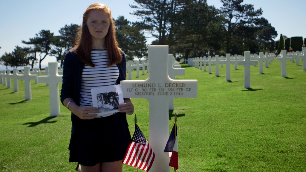 Audrey Calovich at American Cemetery in Normandy, France. Photo by Mike Fritz