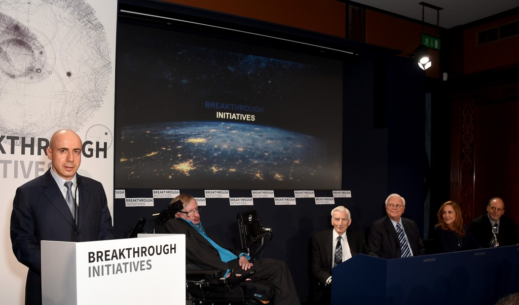 DST Global founder Yuri Milner (left), theoretical physicist Stephen Hawking, cosmologist and astrophysicist Lord Martin Rees, astronomer and SETI chairman emeritus Frank Drake, creative director of NASA Voyager's Interstellar Message Ann Druyan and astronomer Geoff Marcy of the University of California attend a press conference on the Breakthrough Life in the Universe Initiatives at The Royal Society on July 20, 2015 in London, England.  Photo by Stuart C. Wilson/Getty Images.