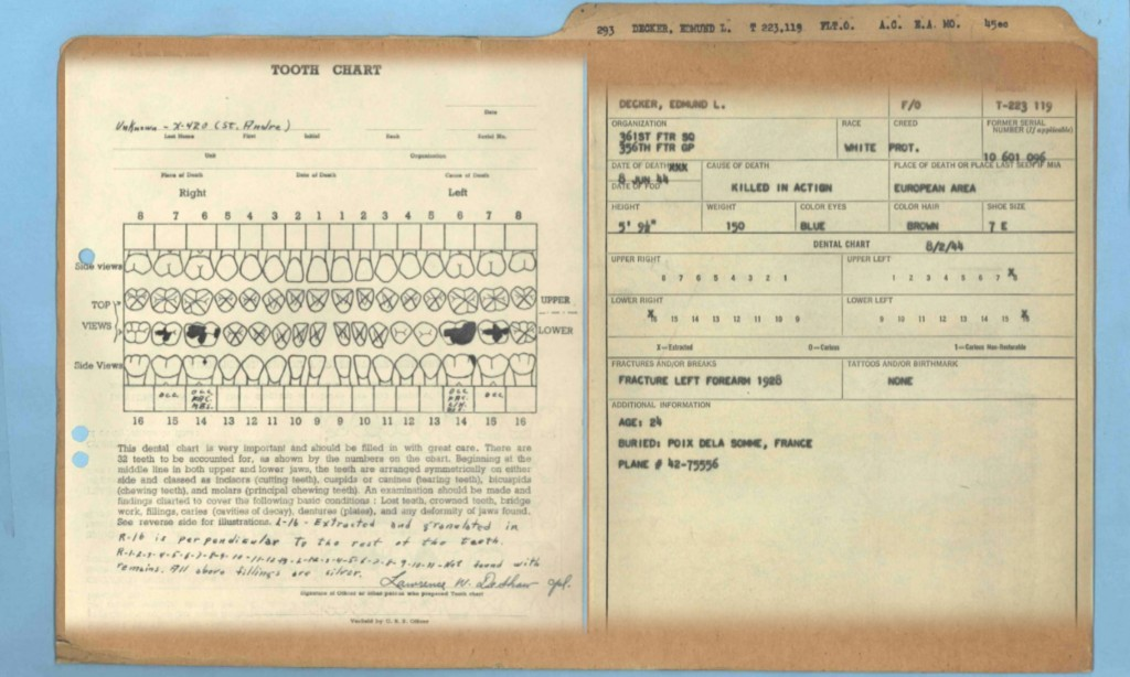 Documents from Flight Officer Edmund Decker's official military records.