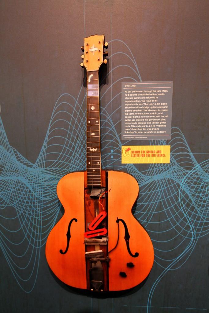 "WAUKESHA, WI -  JUNE 08:  The Log, a 4x4 piece of lumber with a bridge, guitar neck and pickup attached, is featured in the Les Paul exhibit, ""Les Paul: The Wizard of Waukesha"" in Waukesha, Wisconsin on JUNE 08, 2013.  (Photo By Raymond Boyd/Getty Images)"