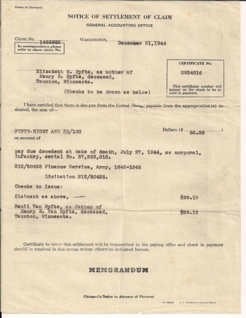 Notice of settlement claim sent to Corporal Henry Bernard Van Hyfte's parents after their son was killed on July 27, 1944.