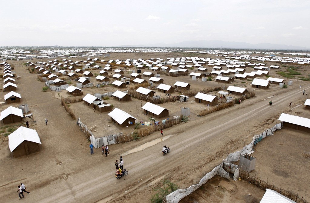An aerial view shows recently constructed houses at the Kakuma refugee camp in northwestern Kenya on June 20, 2015. Photo by Thomas Mukoya/Reuters