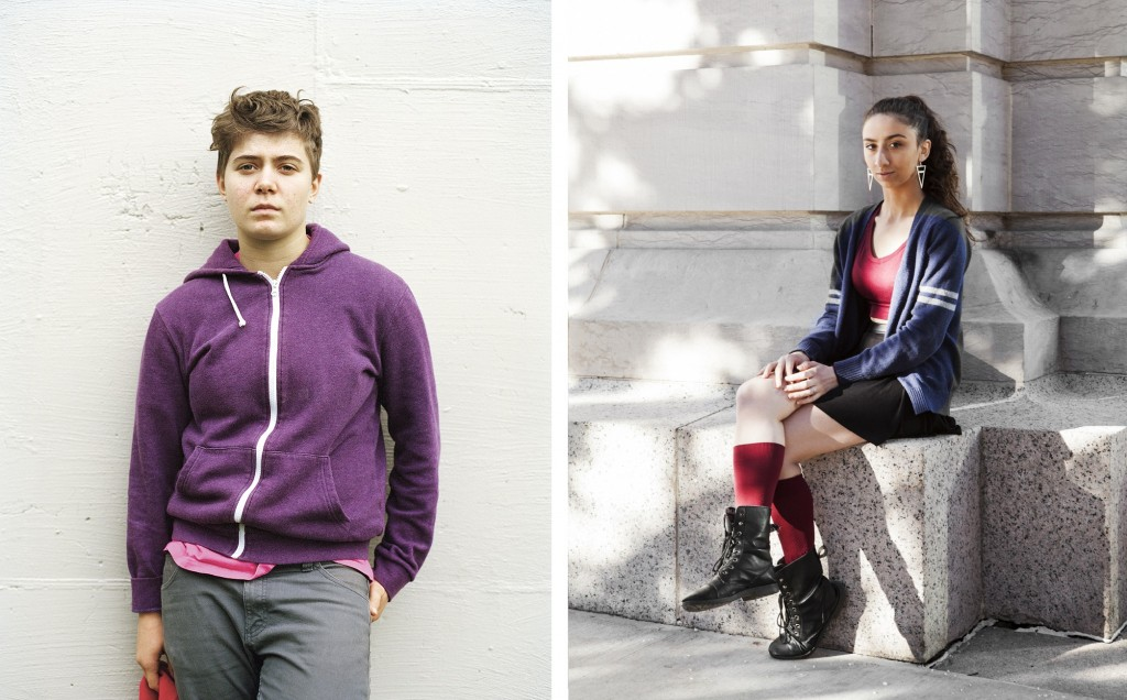 "Schwalb (left, age 15, Croton-on-Hudson, NY) and Caitlyn (right, age 18, Las Vegas, NV) pose for ""We Are the Youth,"" a photo essay documenting the stories of LGBTQ youth. Photos by Laurel Golio"