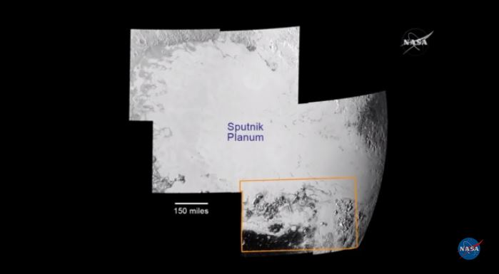 Mosaic of Sputnik Planum stitched together from seven frames of images taken by New Horizons. Yellow box indicates southern site of flowing glaciers and two mountain ranges (see below). Photo by NASA/JHUAPL/SwRI.