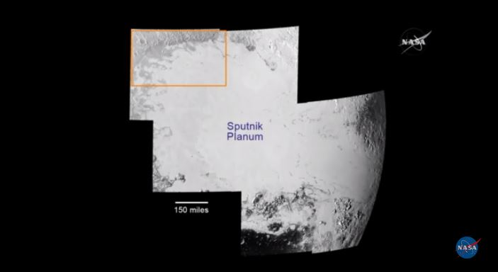 Mosaic of Sputnik Planum stitched together from seven frames of images taken by New Horizons. Yellow box indicates northwestern site of flowing glaciers (see below). Photo by NASA/JHUAPL/SwRI.