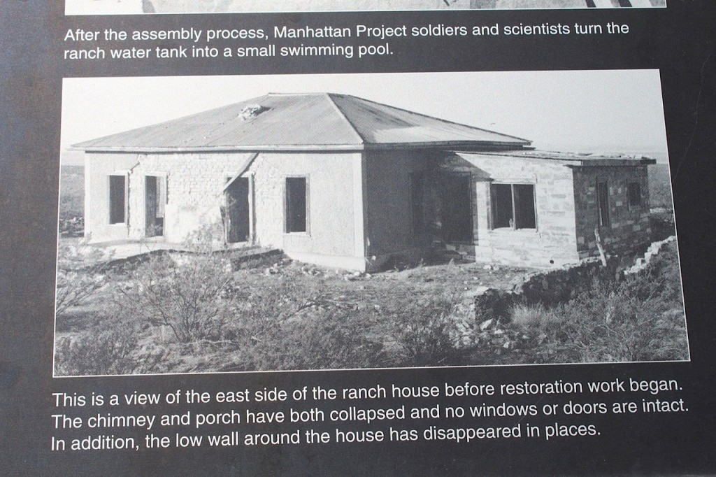 This is what the ranch house looked like after the bomb test. Windows have been shattered, and the stone wall destroyed. Photo by Kathleen McCleery
